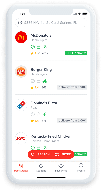 Screenshot showing a list of restaurants